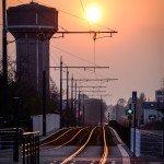 Ma photo du jour : lever de soleil au-dessus de la ligne B du tram à Saint Jean de Braye 1