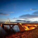 Mes photos du soir : côté est et ouest du Pont de l'Europe à la tombée de la nuit 1