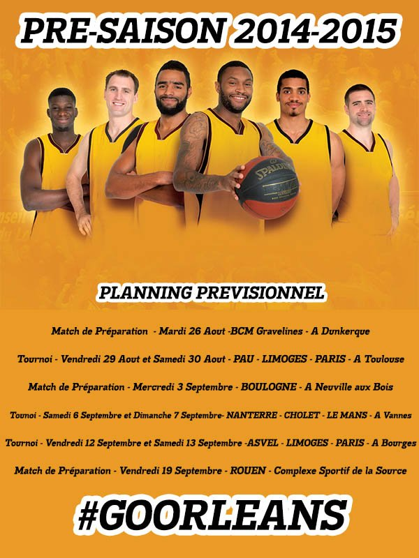 [Basket / Pro A] : Le Planning de Pré-Saison de l'Orléans Loiret Basket 6