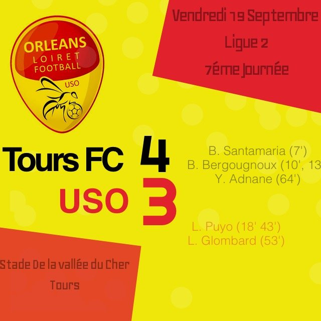 [Football / Ligue 2, 7éme Journée] : Tours Football Club 4-3 US Orléans Loiret Football 83