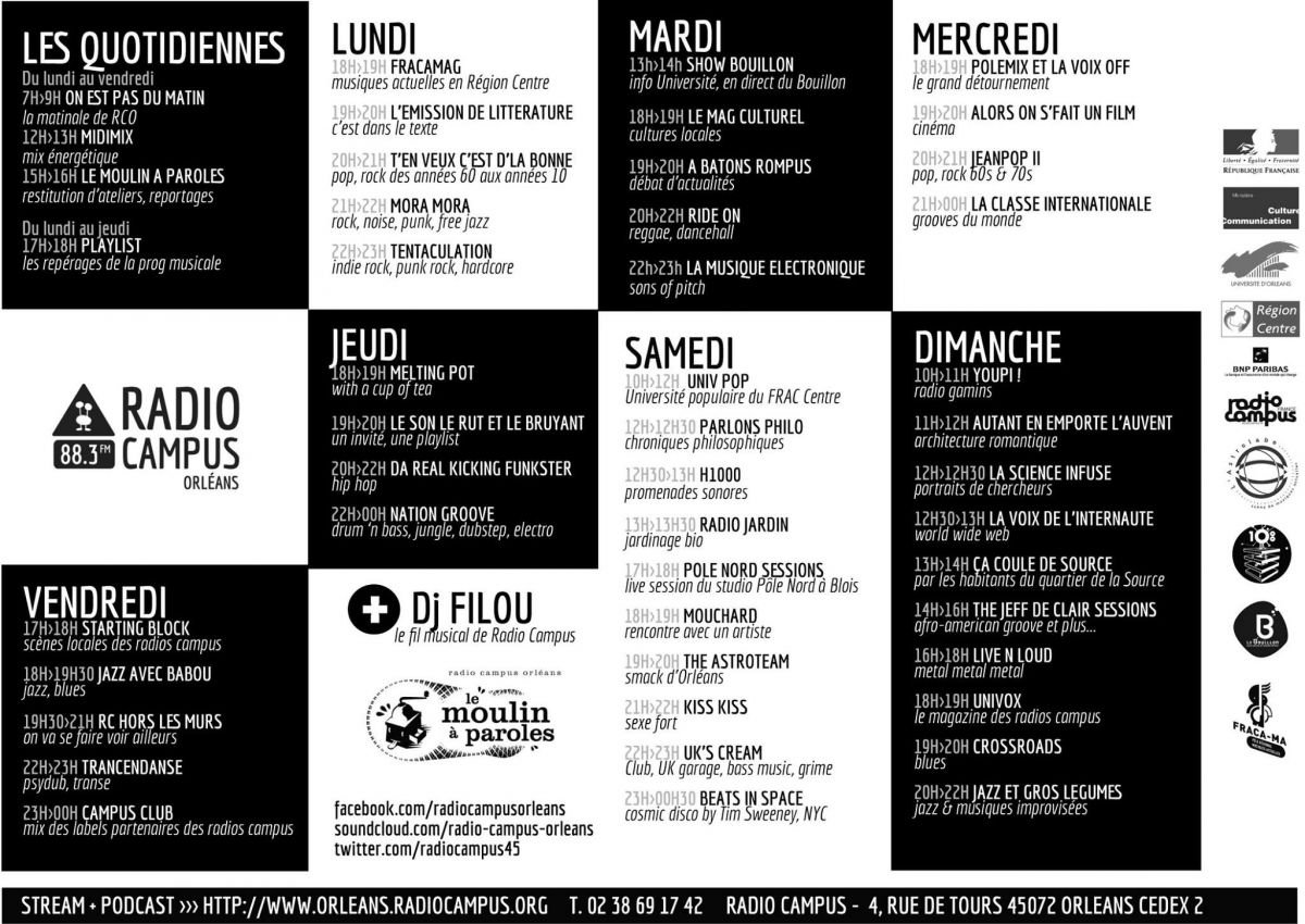 radio campus orléans grille 2014 2015 fréquence