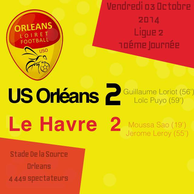 [Football / Ligue 2, 10éme Journée] : US Orléans Loiret Football 2-2 Havre Athletic Club 63