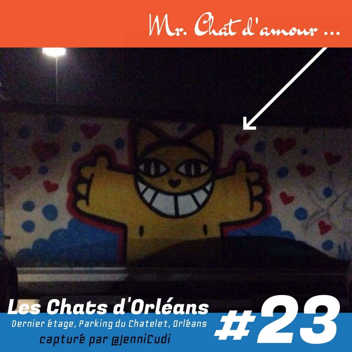 M Chat in love Parking chatelet