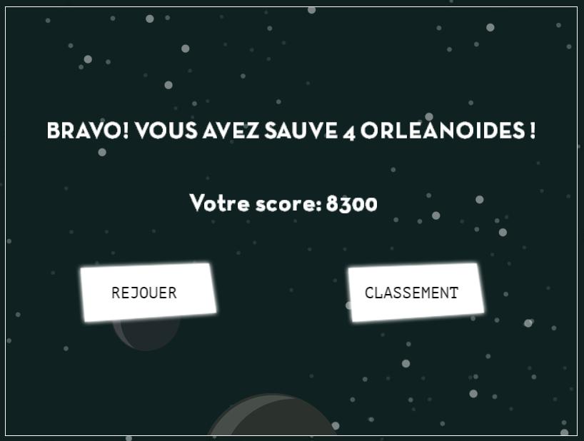 orleanoide le jeu mon score game over