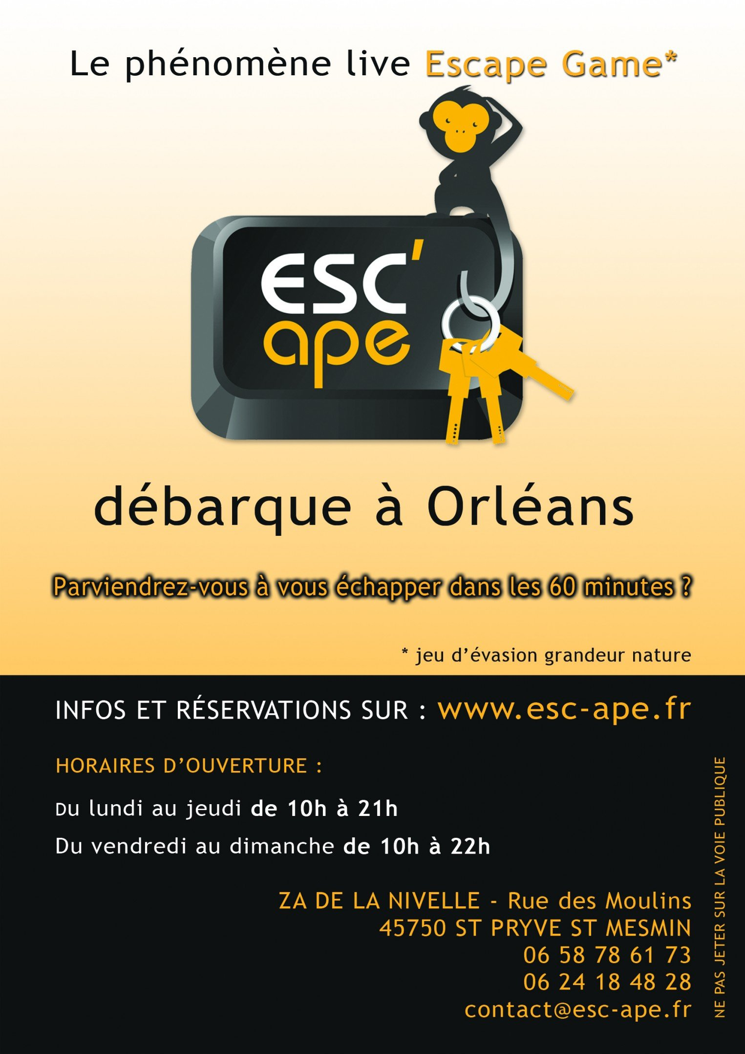 Flyer info Escape Game Orléans Esc ape