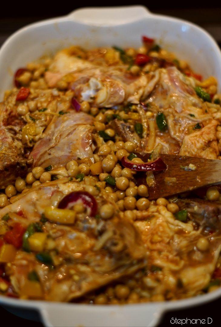 La recette du jour : poulet épicé, pois chiche 6