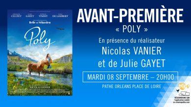 Photo de Nicolas Vanier et Julie Gayet à Orléans pour présenter Poly