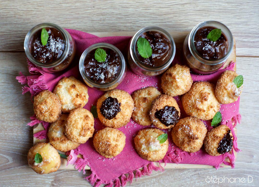 Pour le goûter ou en dessert :  Rochers à la noix de coco et crème au chocolat 7