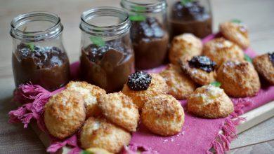 Photo de Pour le goûter ou en dessert :  Rochers à la noix de coco et crème au chocolat