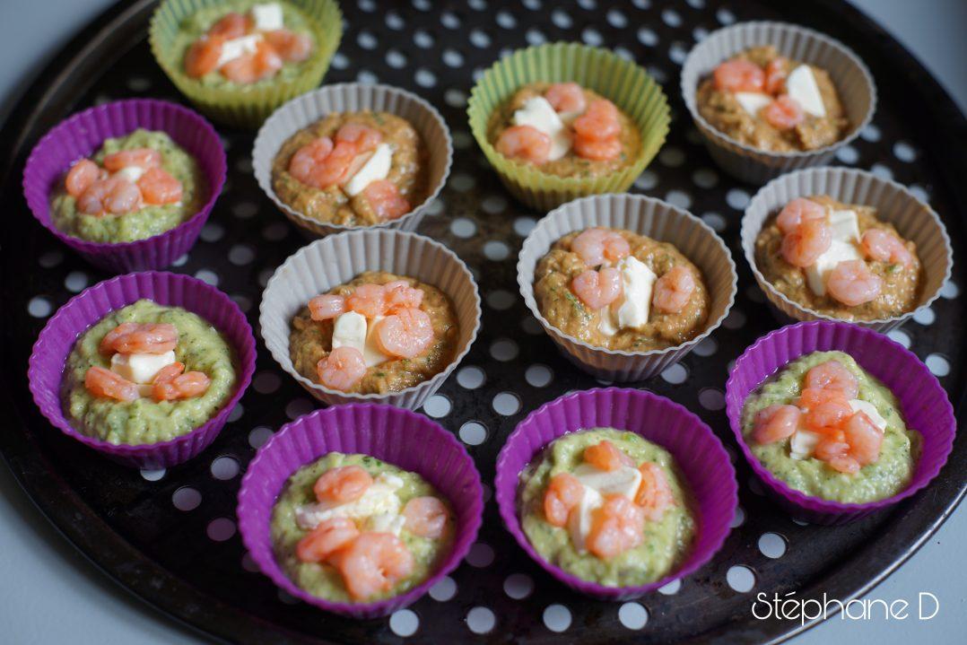 Moelleux courgettes tomates basilic crevettes et coeur fondant au fromage 6