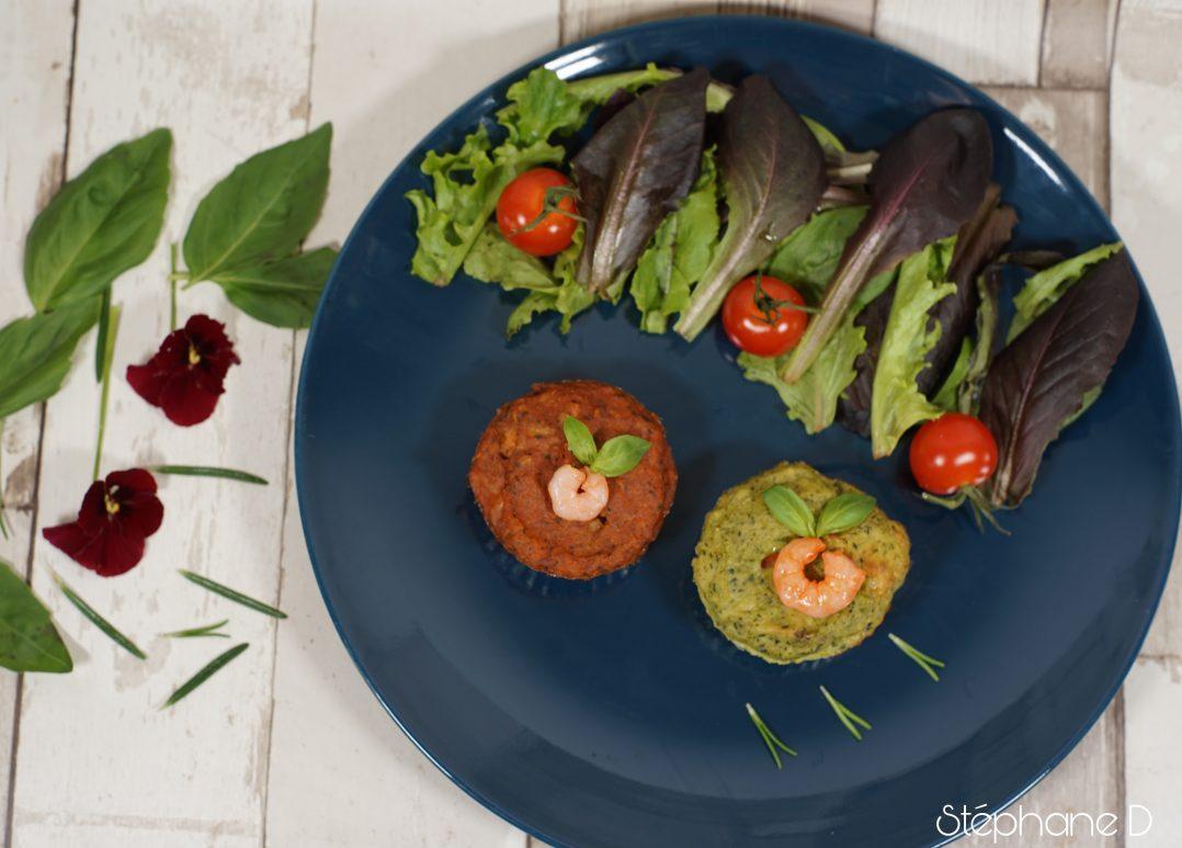 Moelleux courgettes tomates basilic crevettes et coeur fondant au fromage 10