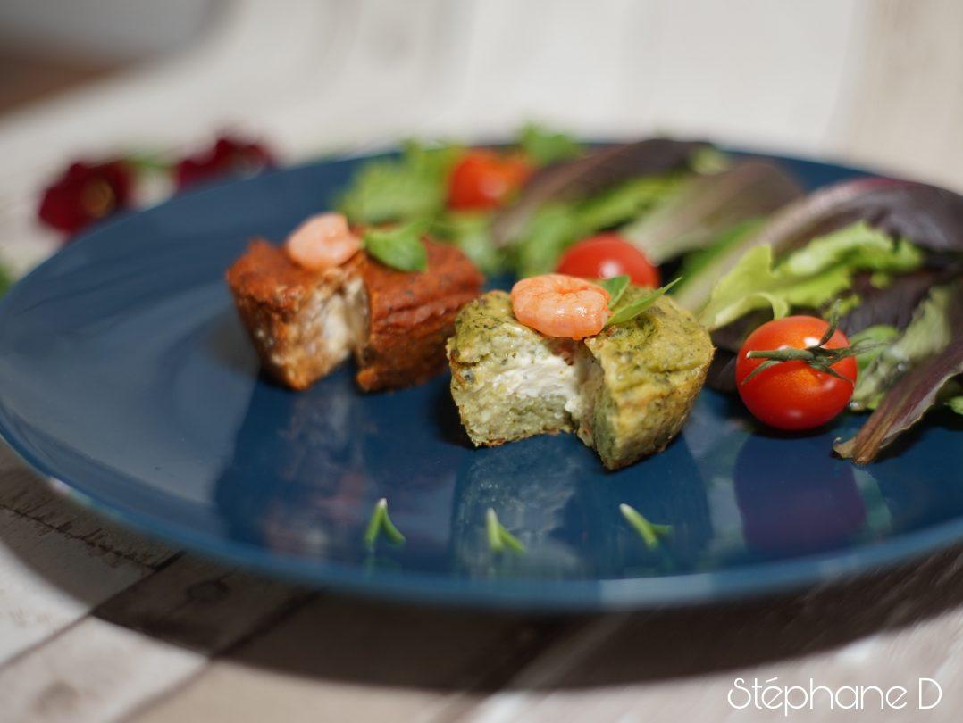 Moelleux courgettes tomates basilic crevettes et coeur fondant au fromage 9