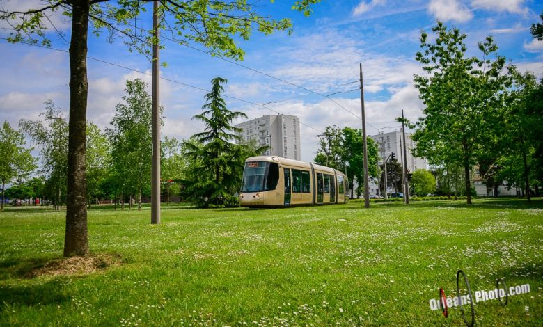 La photo du jour : un tram semble léviter sur la pelouse place Anatole France à la Source 1